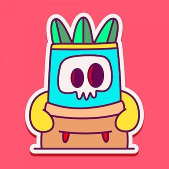 Illustration d'autocollant de doodle de personnage de monstre