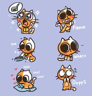 Illustration d'autocollant drôle mignon adorable chaton doodle