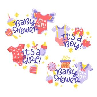 Illustration d'autocollants de douche de bébé dessinés à la main