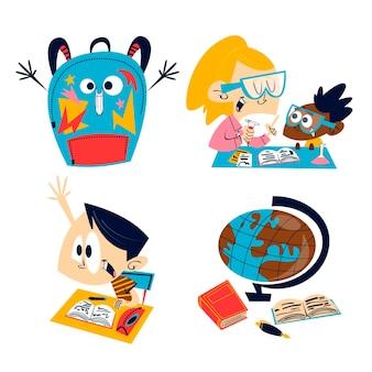 Illustration d'autocollants d'éducation dessin animé rétro