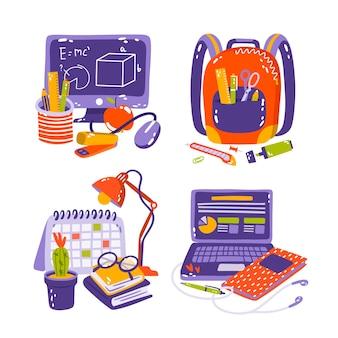 Illustration d'autocollants d'éducation dessinés à la main