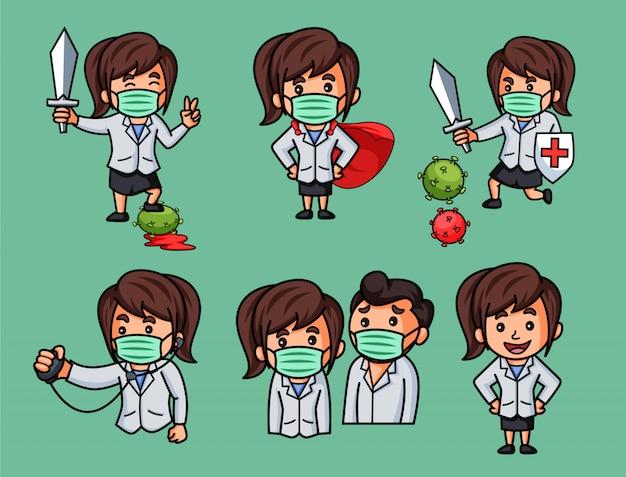 Illustration des autocollants lady doctor