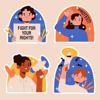 Illustration d'autocollants de protestation naïve