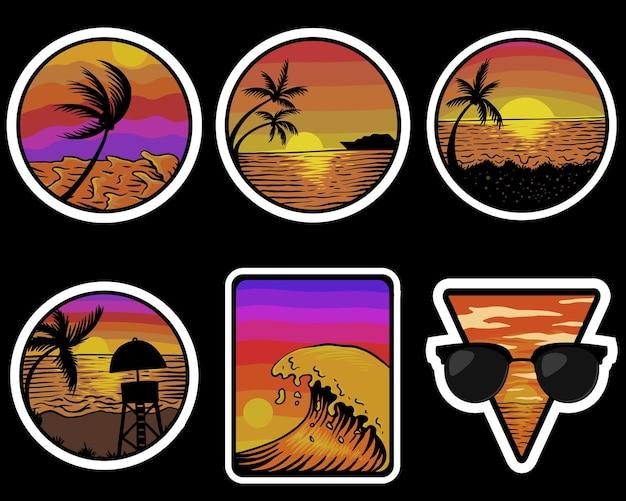 Illustration d'autocollants rétro au coucher du soleil sur la plage