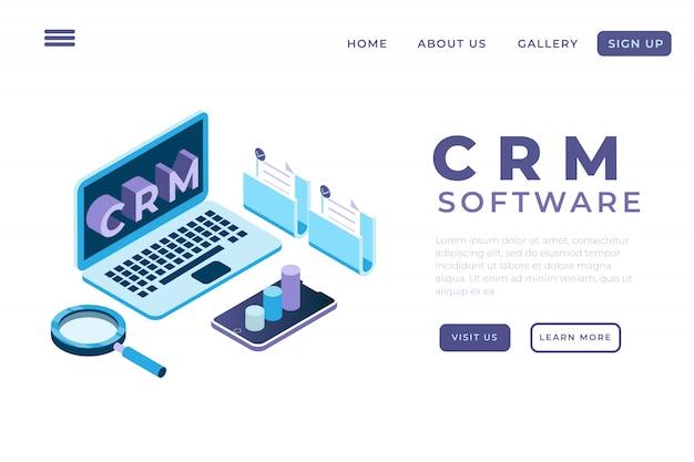 Illustration de l'automatisation du système à l'aide d'une application crm avec le concept de pages de destination isométriques et d'en-têtes web, gestion de la relation client