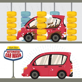Illustration automatisée de lavage de voiture