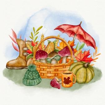 Illustration d'automne aquarelle