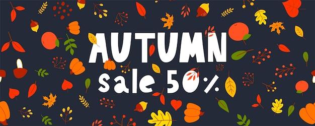 Illustration d'automne, bannière, vecteur de vente, automne, lettrage, carte