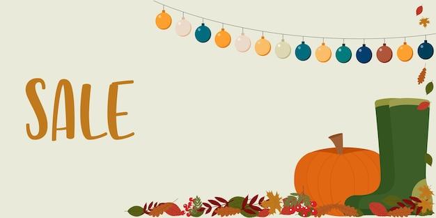Illustration d'automne. le dépliant présente un feuillage d'automne, une citrouille, des bottes en caoutchouc, une guirlande et une vente de texte