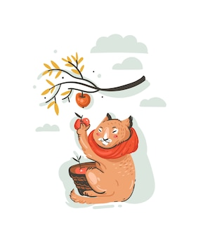 Illustration d'automne de dessin animé de voeux abstrait dessinés à la main avec le personnage de fermier de chat mignon recueilli la récolte de pommes avec des baies, des feuilles et des branches isolées sur fond blanc