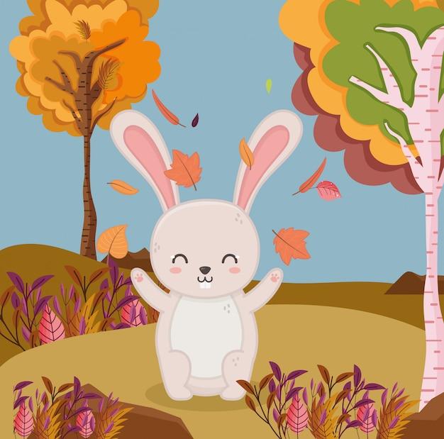 Illustration d'automne des feuilles qui tombent lapin forêt feuillage