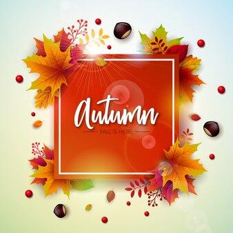 Illustration d'automne avec des feuilles tombantes colorées