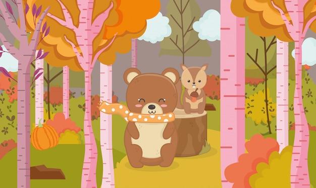 Illustration d'automne de la forêt d'animal mignon ours et écureuil