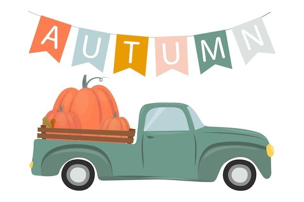 Illustration d'automne une guirlande de drapeaux avec l'inscription automne une voiture avec des citrouilles