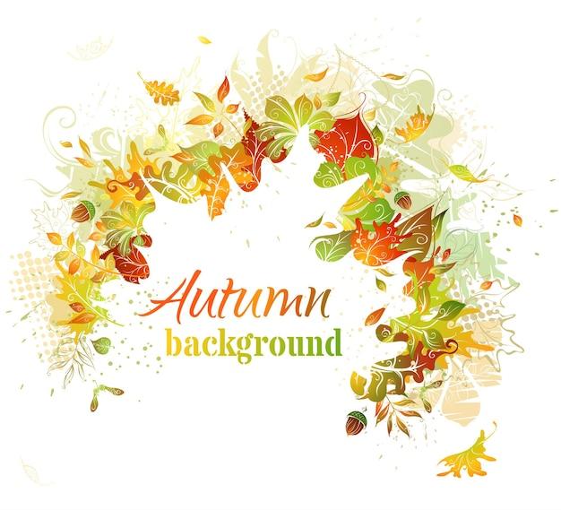 Illustration d'automne lumineux. la silhouette de feuille blanche au centre peut être utilisée pour votre texte.