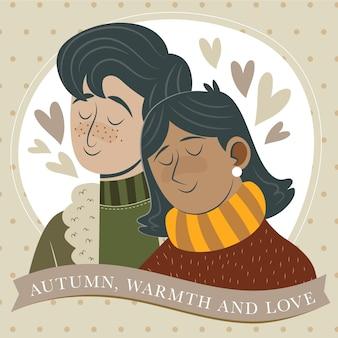 Illustration d'automne plat dessiné à la main avec couple