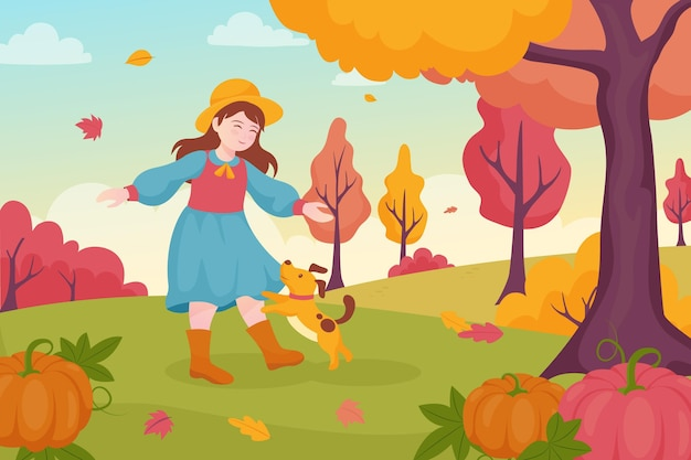 Illustration d'automne plat dessiné à la main