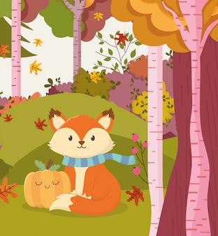 Illustration d'automne de renard mignon avec forêt de citrouilles