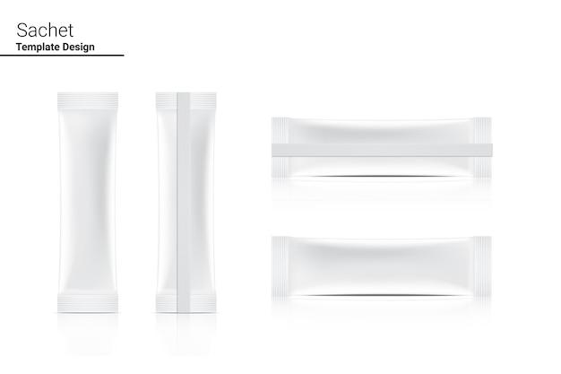 Illustration avant et arrière du sachet brillant 3d. conception d'emballages pour aliments et boissons.