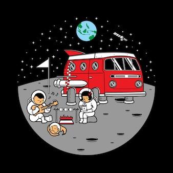 Illustration d'aventure lune astronaute van