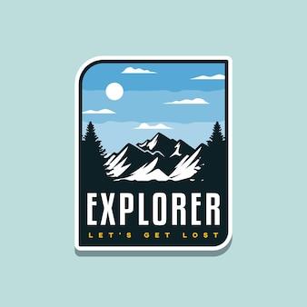 Illustration de l'aventure en plein air pour la conception d'un badge ou d'un tshirt