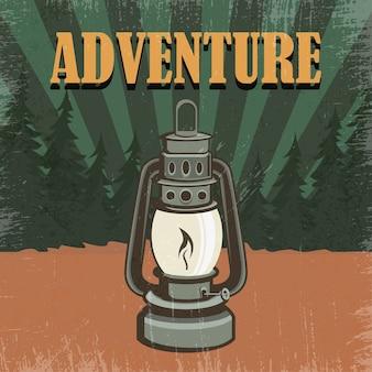 Illustration d'aventure rétro lanterne