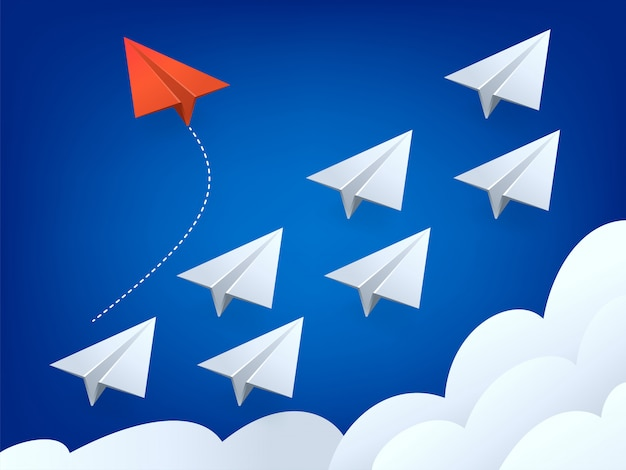 Illustration de l'avion rouge de style minimaliste changeant de direction et les blancs. nouvelle idée, changement, tendance, courage, solution créative, innovation et concept de voie unique.