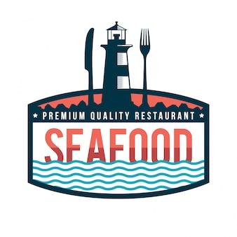 Illustration de badge logo restaurant de fruits de mer frais premium