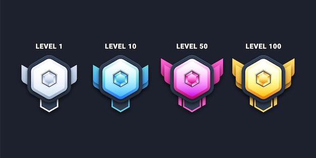 Illustration des badges de niveau
