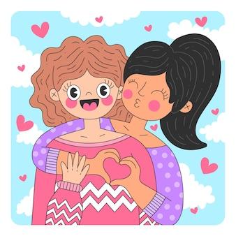 Illustration de baiser de couple de lesbiennes design plat