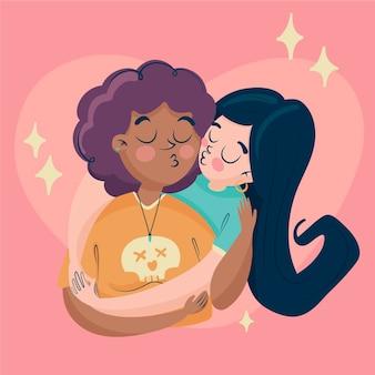 Illustration de baiser de couple de lesbiennes de dessin animé