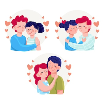 Illustration de baisers de couples dessinés à la main
