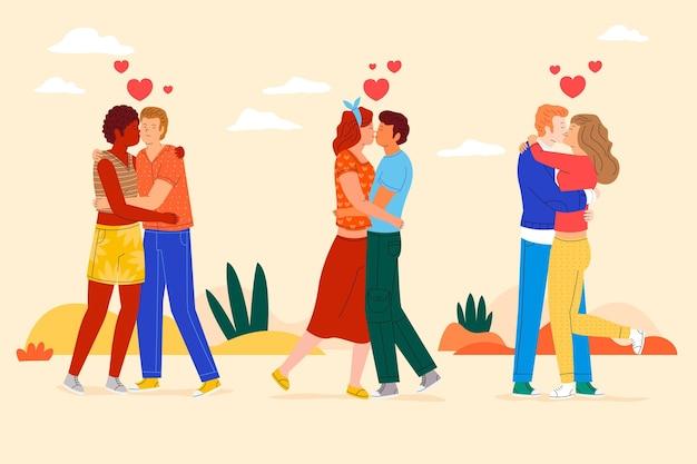 Illustration de baisers de couples plats