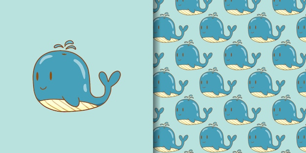 Illustration de baleine mignonne simple