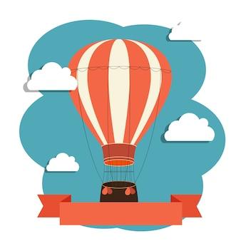 Illustration avec ballon à air et nuages.