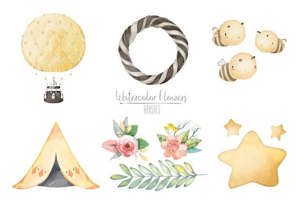 Illustration ballon aquarelle, abeille, étoile, tente, feuille et ensemble tiré à la main sauvage naturel