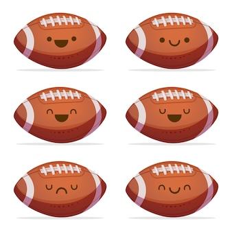 Illustration de ballon de football américain kawaii
