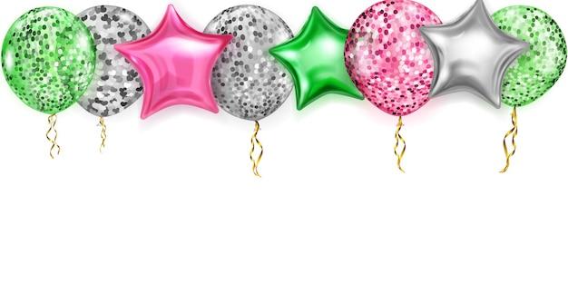 Illustration avec des ballons brillants aux couleurs rouge, argent et vert, ronds et en forme d'étoiles, avec des rubans et des ombres, sur fond blanc