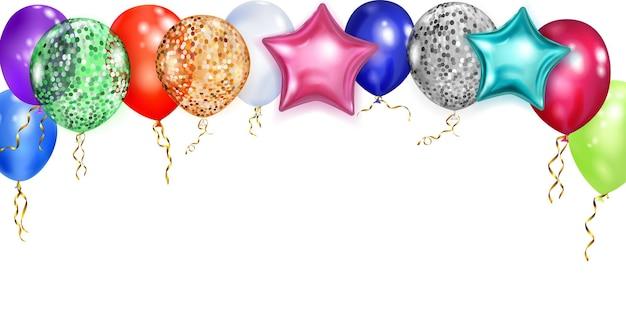 Illustration avec des ballons brillants multicolores, ronds et en forme d'étoiles, avec des rubans et des ombres, sur fond blanc