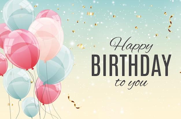 Illustration de ballons joyeux anniversaire couleur brillant