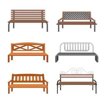 Illustration de bancs. icônes plats en plein air.