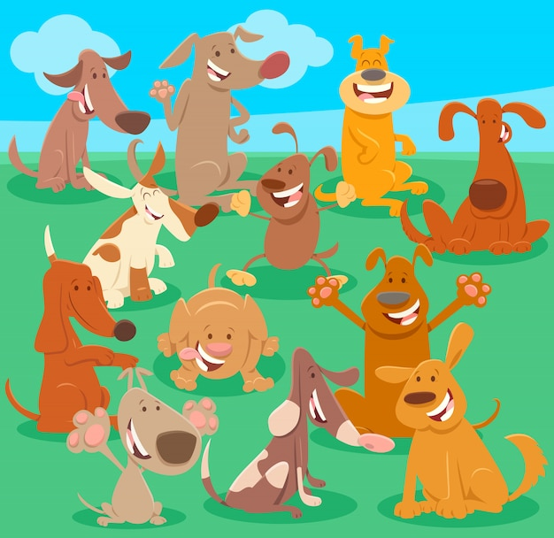 Illustration de bande dessinée du groupe d'animaux de chiens heureux