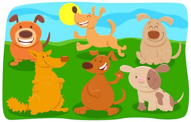 Illustration de bande dessinée du groupe de personnages de chiens heureux