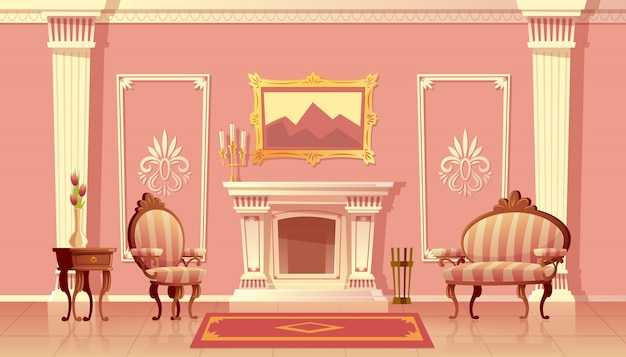 Illustration de bande dessinée du salon de luxe avec cheminée, salle de bal ou couloir avec pilastres