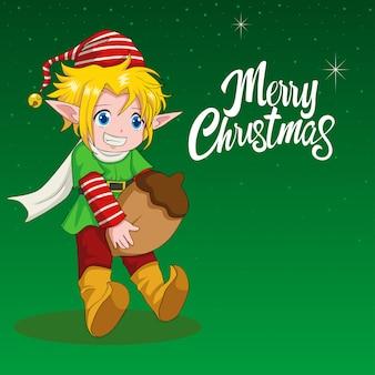 Illustration de bande dessinée d'un elfe pour le thème de noël