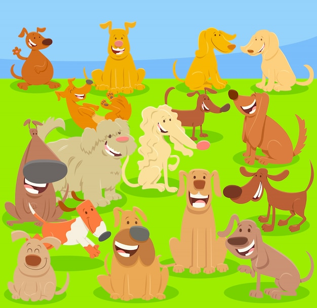 Illustration de bande dessinée de grand groupe de chiens