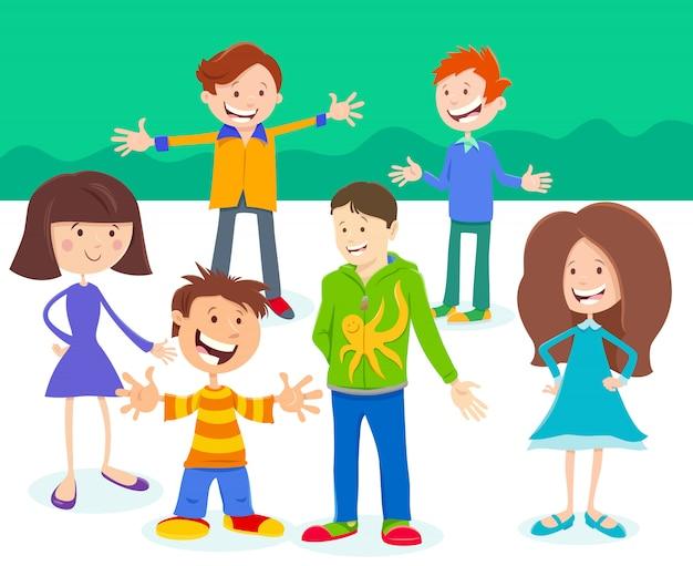 Illustration de bande dessinée d'un groupe d'enfants ou d'adolescents
