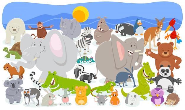Illustration de bande dessinée d'un groupe énorme d'animaux drôles