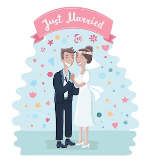 Illustration de bande dessinée mariée et le marié