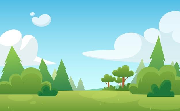 Illustration de bande dessinée pour le jeu et l'animation. forêt verte avec ciel bleu et nuages. paysage.